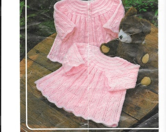 Matinee jacket and dress.  Pattern is for both 4 ply and double knit.  To fit sizes 16 - 20 inches
