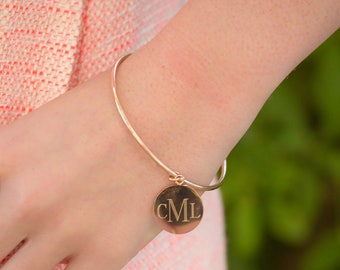 Initial Bracelet | Monogram Bracelet | Personalized Bangle | Bridesmaid Jewelry | Bridesmaid Gifts | Custom Name Jewelry | Cuff Bracelet