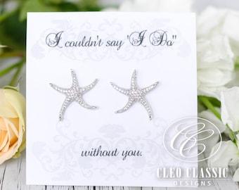 Starfish Earrings | Beach Wedding | Bridesmaid Gifts | Bridesmaid Earrings | Starfish Jewelry | Starfish Studs