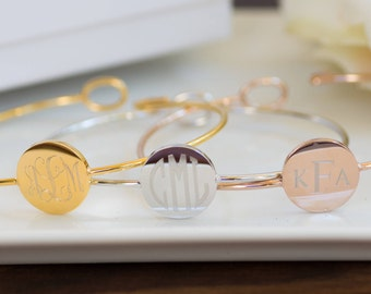 Monogram Jewelry | Personalized Bridesmaid Gifts | Bridesmaid Jewelry | Custom Name Jewelry | Bangle Bracelet | Cuff Bracelet