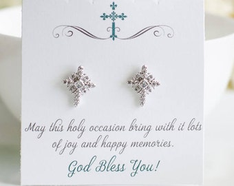 First Communion Gifts | Cross Earrings | Religious Jewelry | Confirmation Gift | Cross Studs