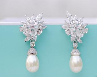 Bridal Earrings| Pearl Earrings | Wedding Jewelry | Bridesmaid Earrings | Pearl Jewelry | Vintage Earrings