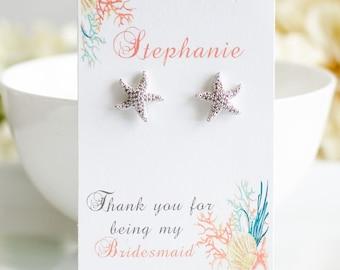 REVERSIBLE Starfish Earrings | Bridesmaid jewelry | Bridesmaid Gifts | Bridesmaid Earrings | Pearl Earrings | Pearl Jewelry | Beach Wedding