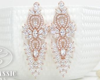 Rose Gold Bridal Earrings Bridesmaid Jewelry Wedding Jewelry Bridal Earrings Dangle Earring Bridesmaid Chandelier Drop Earrings Rose Gold