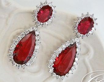 Ruby Earrings |  Bridesmaid Earrings | July Birthstone | Bridal Earrings | Dangle Earrings | Drop Earrings