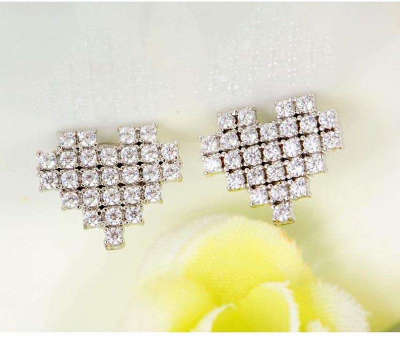 Heart Jewelry Love Earrings Love Jewelry Girls Studs Best Friend Heat Earrings Sister Gift