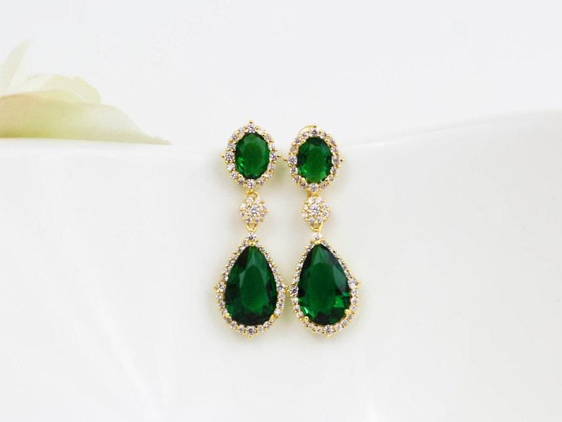 4404eb72dc59d Gold Emerald Earrings, Emerald Wedding Jewelry, Emerald Teardrop Bridal  Earrings, Bridesmaid Jewelry, Emerald Jewelry, Bridesmaid Earrings