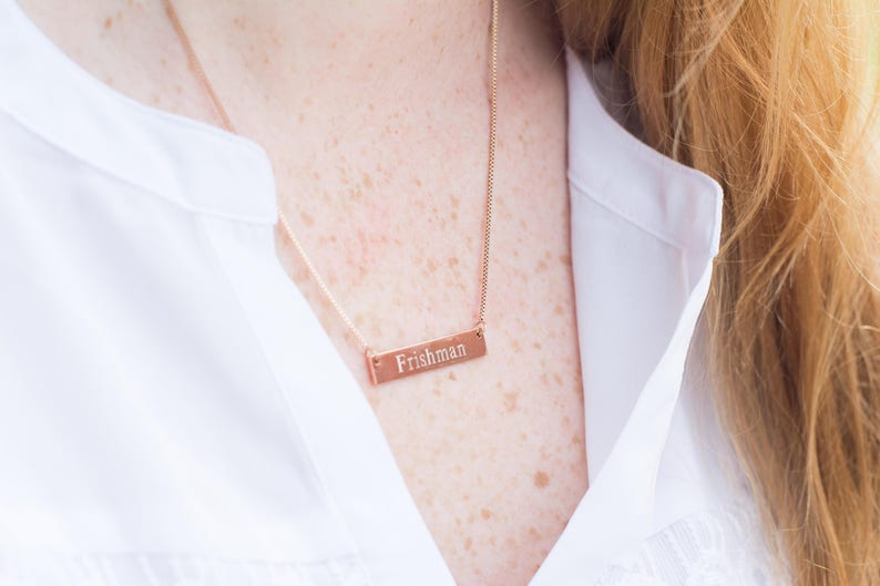Custom Name Bar Necklace Bridesmaid Gift Monogram Necklace Sorority Necklace Initials Custom Coordinates Valentine/'s Gift
