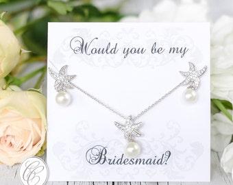 Beach Wedding Bridesmaid Set, Bridesmaid Gifts,Bridesmaid Earrings,Would you be my Bridesmaid, Bridal Earrings,Wedding Jewelry