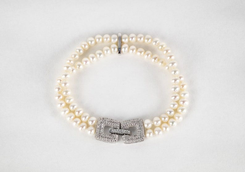 Pearl Wedding Bracelet for Brides 925 Silver  Double Strand Freshwater Cultured Pearl CZ Crystal Bridal Bracelet Bridal Pearl Bracelets
