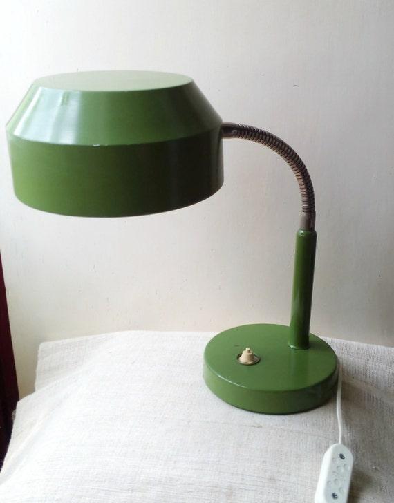 Vintage Olive Green Desk Lamp Office Table Lamp Light Mid Etsy