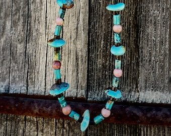 Turquoise and Rhodonite Necklace on 19 strand wire with Sterling Silver Lobster Claw clasp