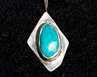 Sterling Silver Turquoise Pendant with Chain