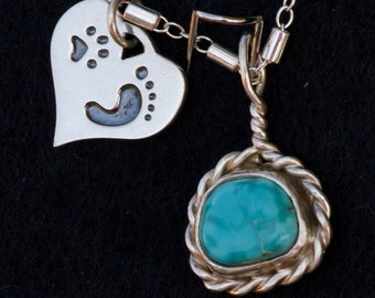 Sterling Silver and Turquoise Dangle Pendant with a cute hart Charm thats engraved with a Paw print and footprint