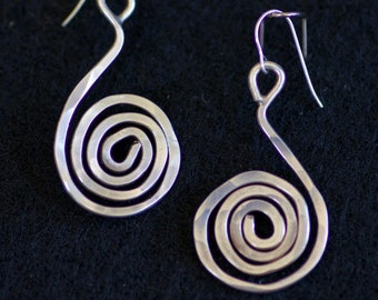 Sterling Silver Hammered Swirl Earrings