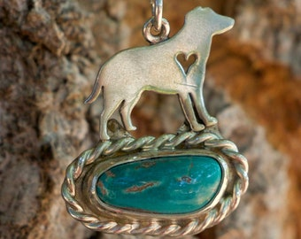 Sterling Silver Dog Cut out with Turquoise a Stone in a Bezel steeting