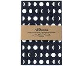 Moon Pattern Screen Printed Notebook with Blank Pages