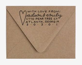 With Love - Custom Hand Lettered Return Address Stamp