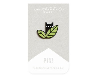 Cat in Leaves // Hard Enamel Cloisonné