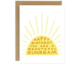 Birthday Sunbeam - Screen Printed Folding Birthday Card