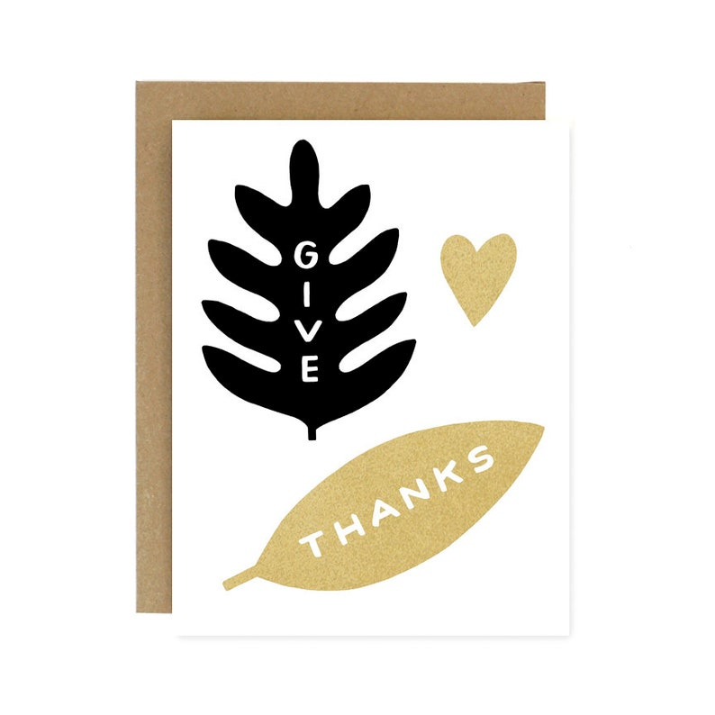 Thanksgiving Card  Give Thanks Screen Printed Folding Card image 0