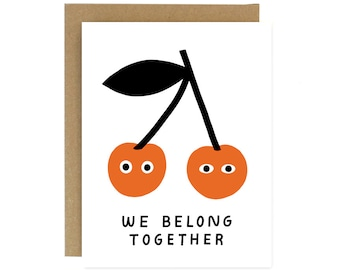 Belong Together - Cherries - Screen Printed Folding Greeting Card