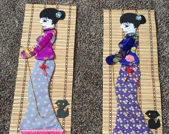 Asian Bamboo Wall Hanging Set// Bamboo Wall hanging
