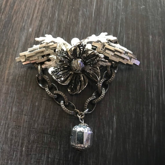 Miriam Haskell 1950s Silver Flower Brooch; Miriam… - image 3
