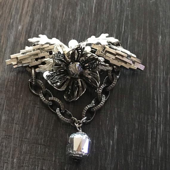 Miriam Haskell 1950s Silver Flower Brooch; Miriam… - image 6