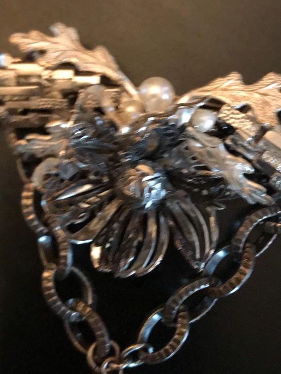 Miriam Haskell 1950s Silver Flower Brooch; Miriam… - image 7