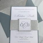 Dusty Blue Wedding Invitations, Dusty Blue Wedding, Silver Glitter Wedding Invitations