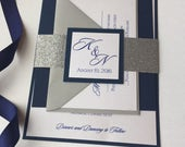 Navy Wedding Invitations, Silver Wedding Invitations, Navy and silver Wedding Invitations, Sparkle invitations