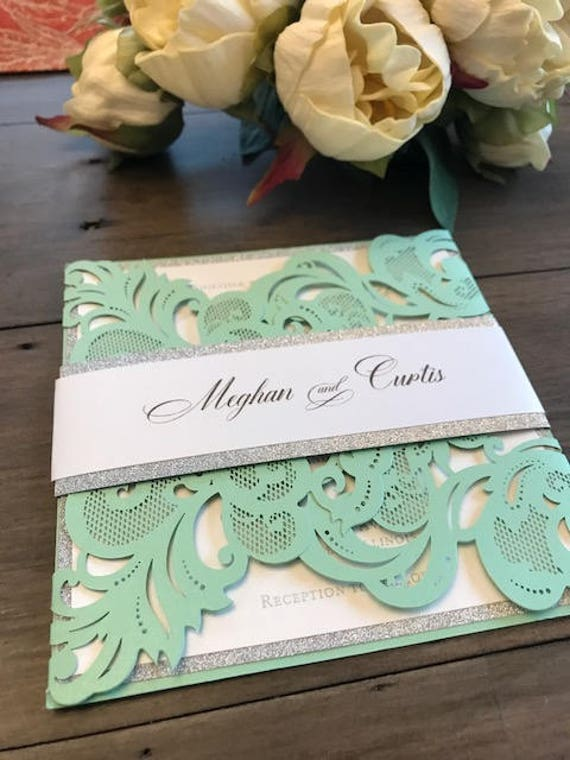 Laser Cut Wedding Invitation Mint Green Wedding Invitations Laser Cut Invitations Glitter Invitations Mint Green Laser Cut Invitations