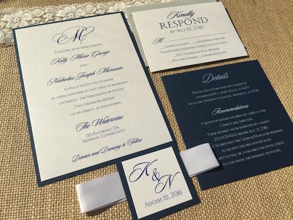 Navy Blue And White Wedding Invitations: Navy And White Wedding Invitations Navy Blue Wedding