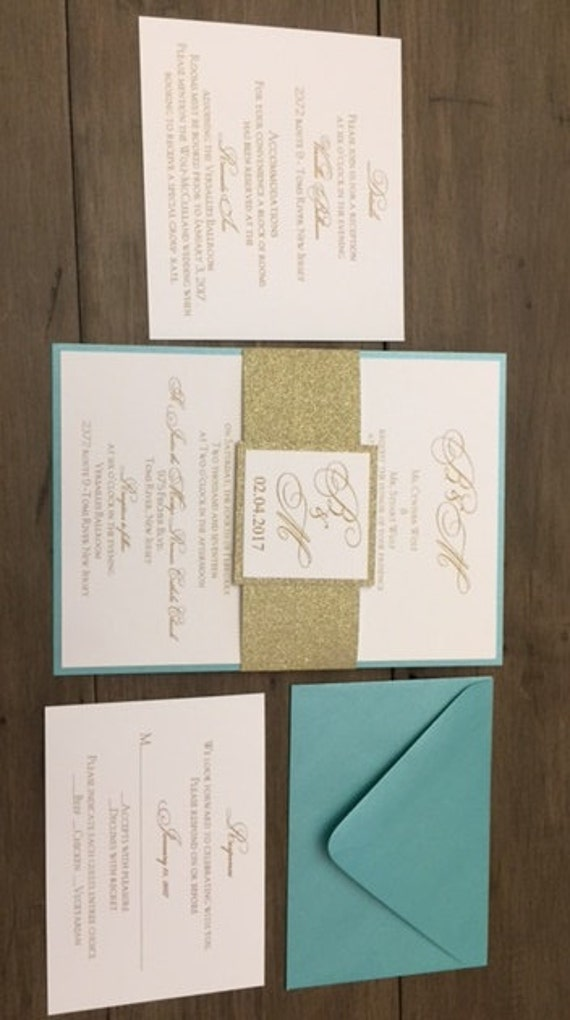 glitter,belly band wedding DEPOSIT Aqua Blue /& gold invitations Glitter Wedding invitation Aqua invitations Teal blue invitations