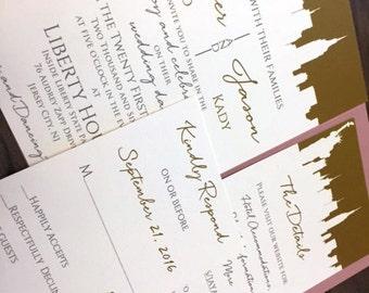 New York Wedding Invitations, New York City Themed Wedding, New York City Wedding Invitations, NYC wedding, Statue of Liberty Invitations