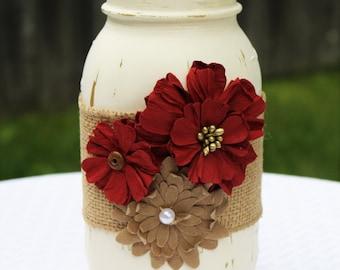 Mason Jar, Distressed Mason Jar, Red Mason Jar, Burlap Mason Jar, Home Decor, Country Home Decor, Rustic Home Decor, Red Home Decor