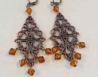 Lacy filigree chandelier earrings with amber citrine Swarovski crystals