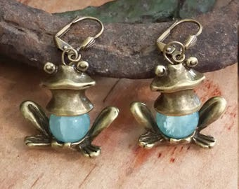 Sweet Frog Earrings.  Antique bronze frog bead caps encasing opaque aqua crackle glass beads from Czech Republic.