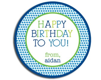 Birthday Stickers For Boys Personalized Gift Sticker Polkadot Party Favor Tags Kids Bday