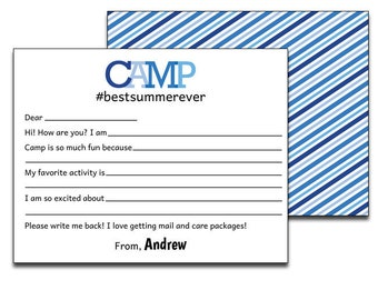 Personalized card from Camp Church Camp Personalized Camp Note Cards Summer Camp Science Camp Kids Camping Note Cards Camp Stationary