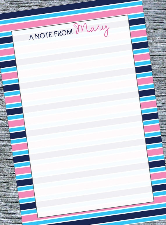 Personalized Memo Pad for Tween Preppy Stripes Notepad Preppy Notepad for Tween Custom Name Notepad Tween Girls Custom Notepad