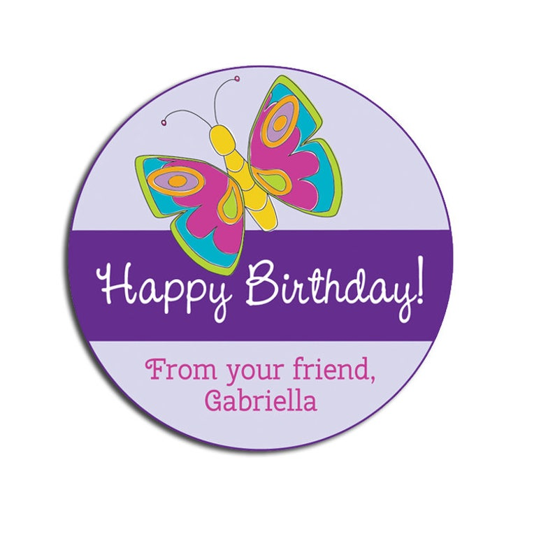 Girls Happy Birthday Gift Sticker Butterflies Personalized