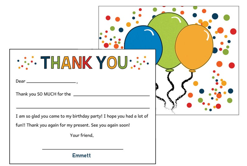 Kids Birthday Fill In Thank You Note Set For