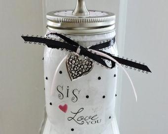 Sister Gift   Sister Mason Jar Light   Gift For Sister   Sister Birthday Gift   Gift For Best Friend   Mason Jar Lamp   Best Friend Gift