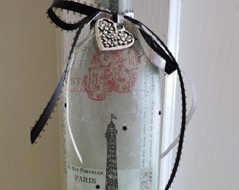 Paris Wine Bottle Lamp | French Decor |  Paris Gifts | Wine Bottle Accent Lamp | Paris Decor | Eiffel Tower Decor | Night Light