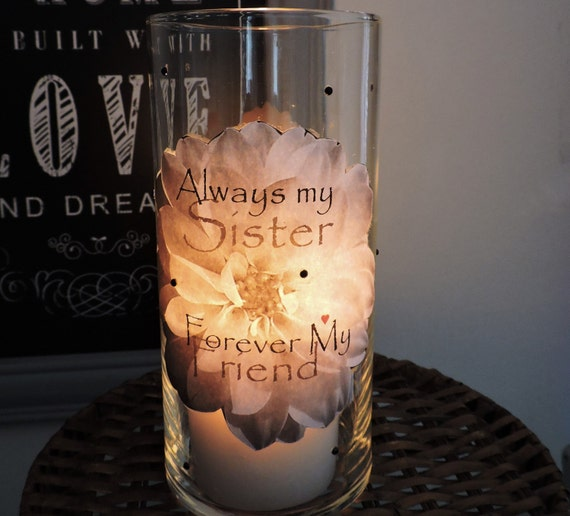 Sisters Candle Holder Sister Gift Birthday