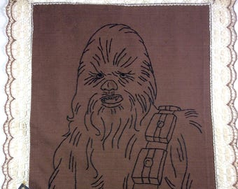 Chewbacca, Star Wars - Hand Embroidered vintage doily, placemat, lace edge