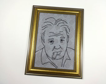 Archie Bunker, Carroll O'Connor, All in the Family - Hand Embroidered Framed Portrait