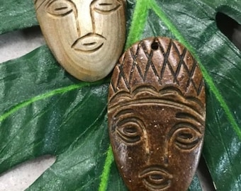 Pendant - Tiki Heads, Carved Natural Horn, Pair